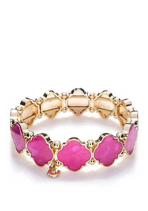 Gold Tone Quatrefoil Stretch Bracelet