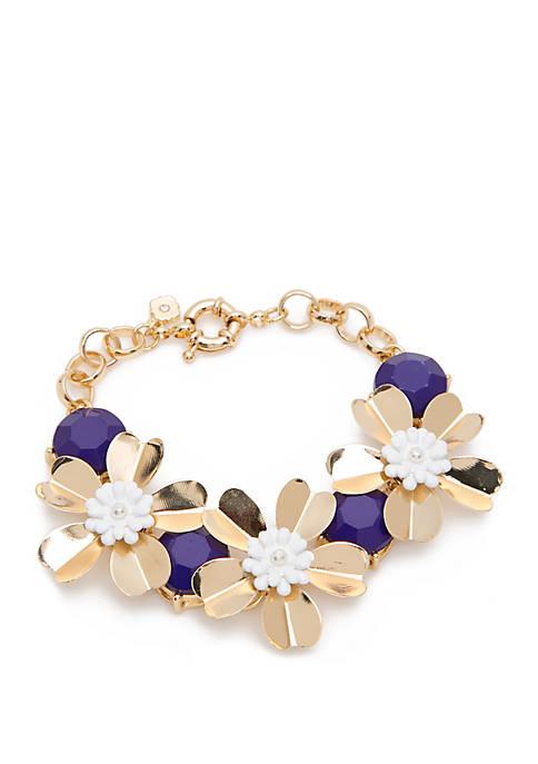 Crown & Ivy™ Gold Tone Flex Flower Bracelet