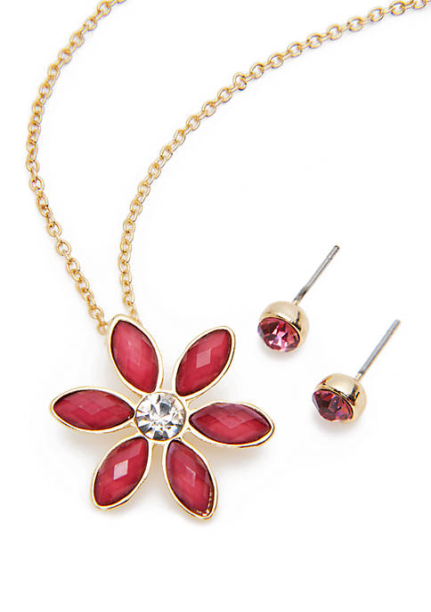 Crown & Ivy™ Flower Pendant Necklace And Earring