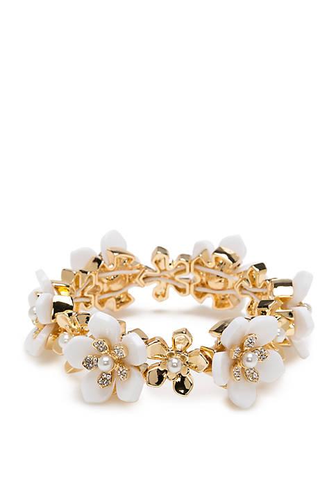 Gold Tone Flower Stretch Bracelet
