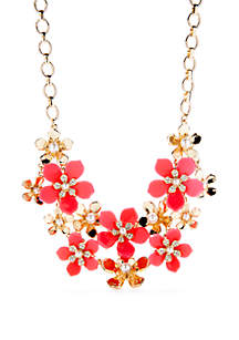 Crown & Ivy™ 2 Row Flower Frontal Necklace