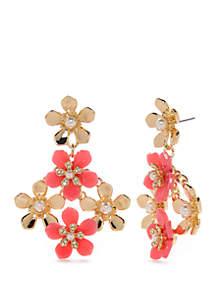 Crown & Ivy™ Gold Tone Post Flower Chandelier Earrings
