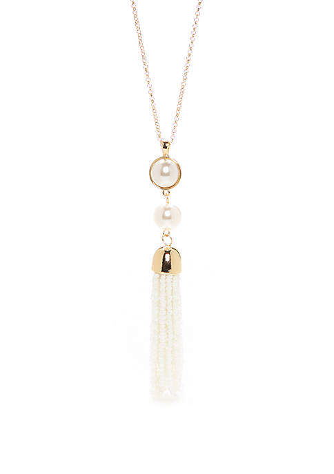 Thread Bead Tassel Pendant Necklace