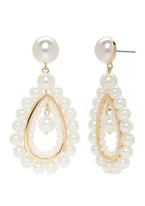 Crown & Ivy™ Gold Tone Drop Pearl Earrings