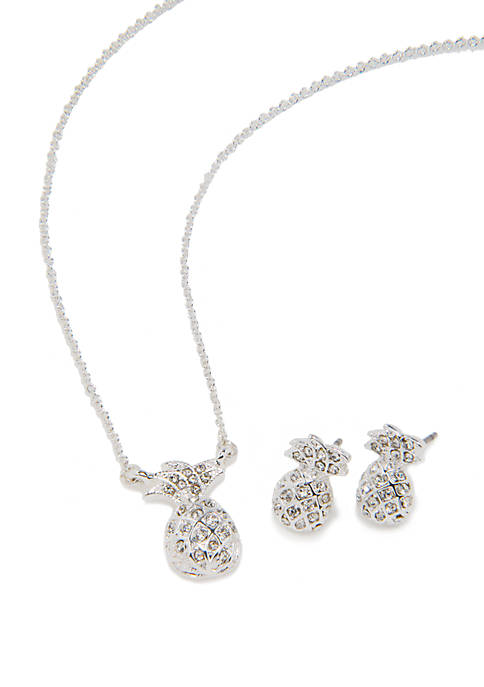 Crown & Ivy™ Silver Tone Pineapple Pendant Necklace