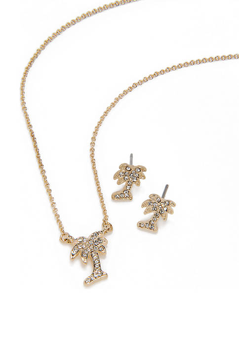 Crown & Ivy™ 3 Piece Palm Tree Necklace