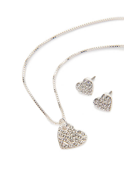Crown & Ivy™ 3 Piece Pave Heart Necklace