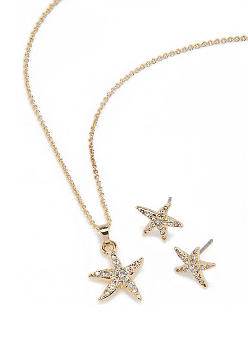 Crown & Ivy™ 3 Piece Pave Starfish Pendant