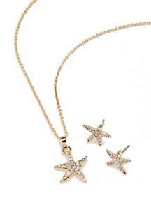 Crown & Ivy™ 3 Piece Pave Starfish Pendant Necklace Set