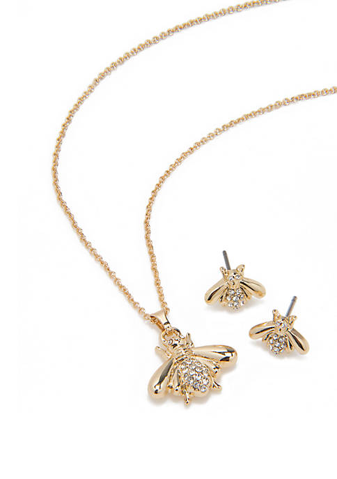 Gold Tone Pace Bee Pendant Necklace And Earring Set