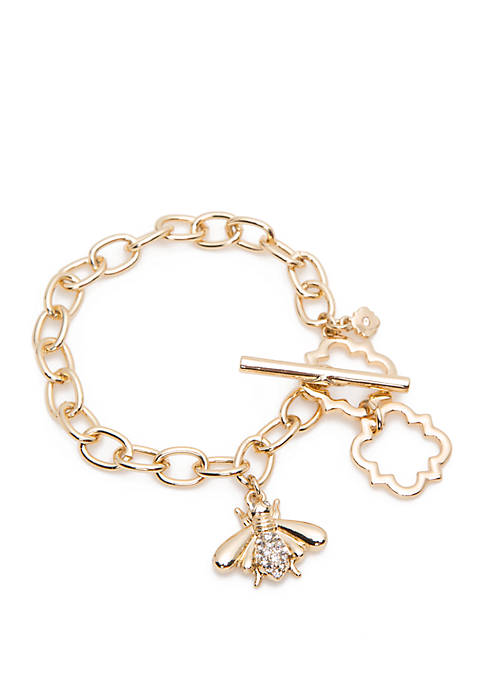 Crown & Ivy™ Gold Tone Bee Charm Toggle