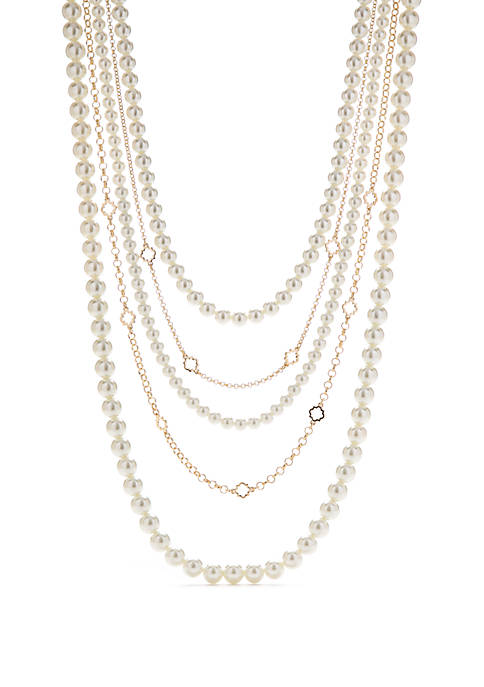 Crown & Ivy™ Gold Tone Multi Row Pearl