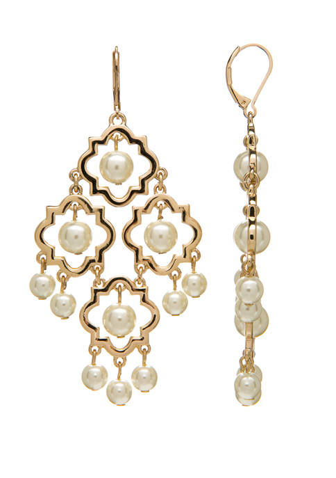 Crown & Ivy™ Gold Tone Quatrefoil and Pearl