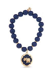 Crown & Ivy™ Gold Tone Stretch Elephant Charm Bracelet