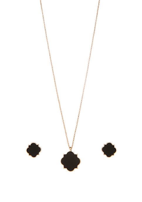 Crown & Ivy™ Boxed Gold Tone Quatrefoil Necklace