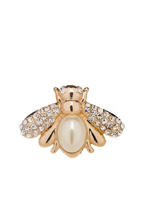 Boxed Gold Tone Pearl Crystal Bee Pin