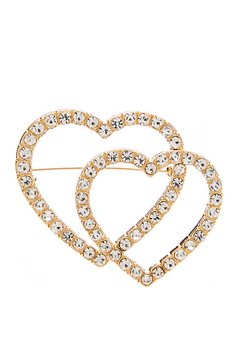 Crown & Ivy™ Double Hearts Gold Cry Pin