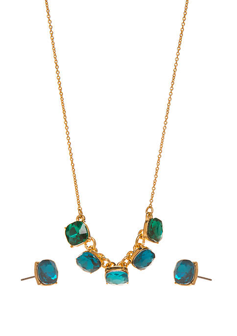 Crown & Ivy™ Boxed Gold Tone Necklace and