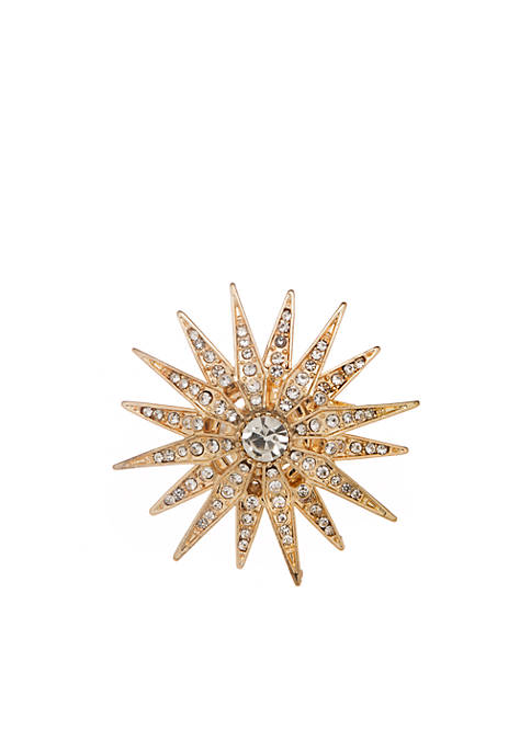 Boxed Gold Tone Crystal Starburst Pin
