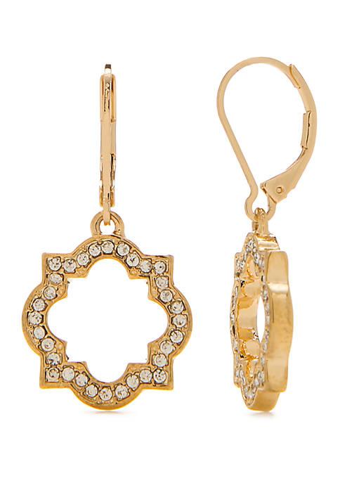Pave Quatrefoil Drop Earrings