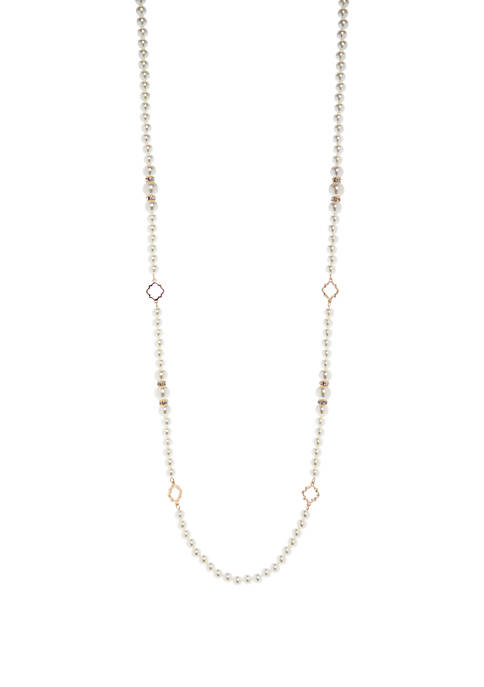 Crown & Ivy™ Gold Tone Pearl and Quatrefoil