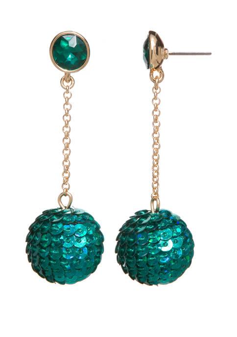 Crown & Ivy™ Sequin Chain Drop Earrings