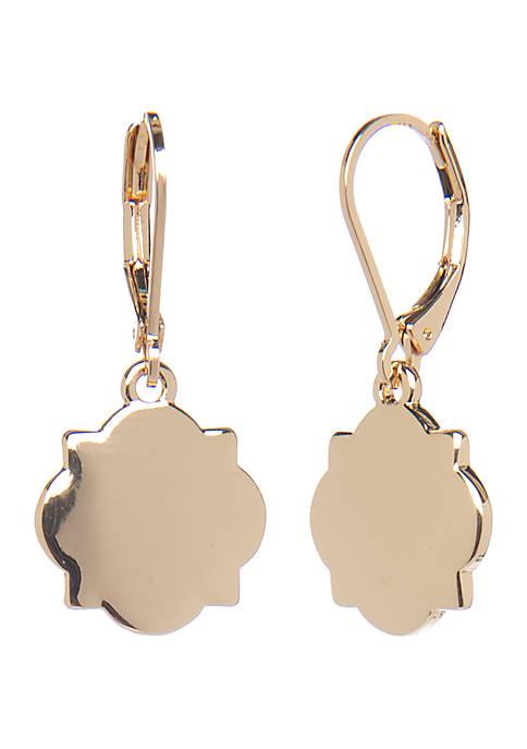 Gold Tone Single Quatrefoil Drop Earrings