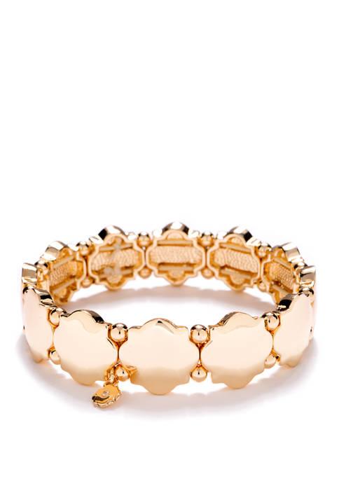 Gold Tone Stretch Quatrefoil Bracelet