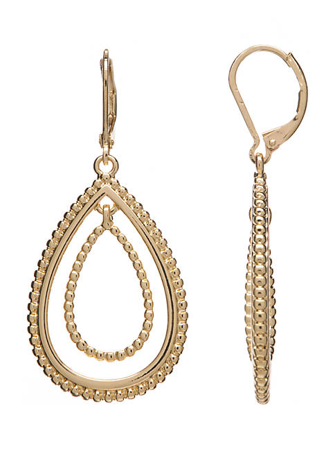 Crown & Ivy™ Gold Tone Textured Teardrop Orbital