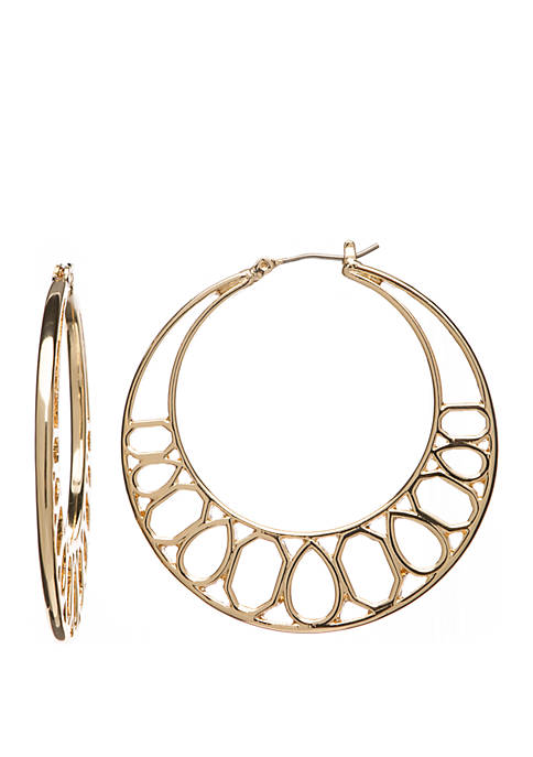 Crown & Ivy™ Large Gold Tone Geometric Hoop