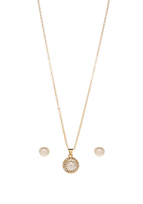 Crown & Ivy™ Boxed Gold Tone Pearl Necklace