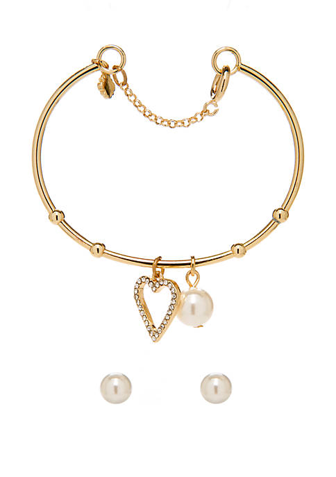 Boxed Gold Tone Open Heart Bracelet and Pearl Earring Set