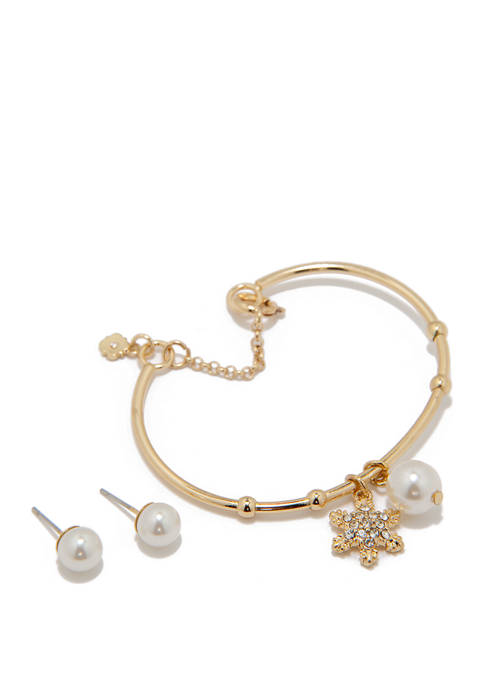 Boxed Gold Tone Pearl Crystal Bracelet and Earring Set