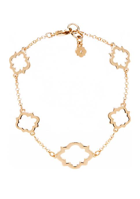 Boxed Flex Open Quatrefoil Gold Bracelet