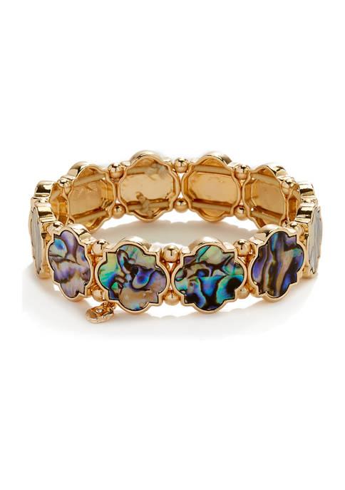 Crown & Ivy™ Stretch Foil Gold Abalone Bracelet