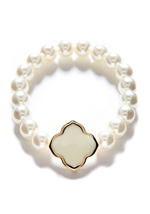 Crown & Ivy™ Stretch Beaded Gold Cream Pearl