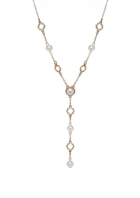 Crown & Ivy™ Pearl Quatrefoil Y Neck Necklace