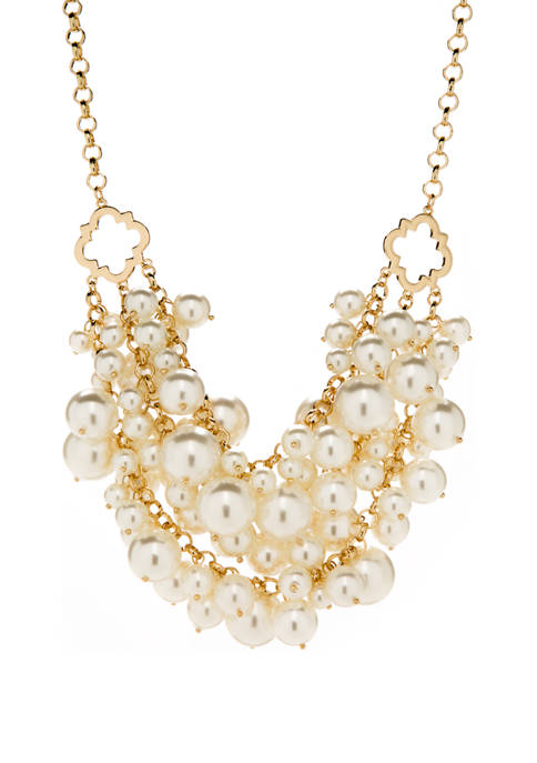 Gold Tone Cream Pearl 3 Row Quatrefoil Frontal Necklace