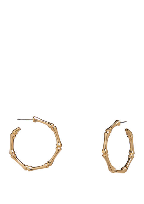 Crown & Ivy™ Gold Tone Bamboo C Hoop