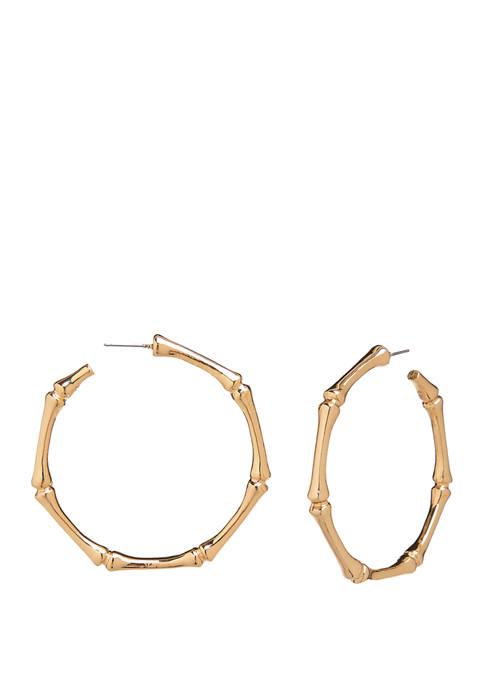 Crown & Ivy™ Gold Tone Bamboo C Hoop