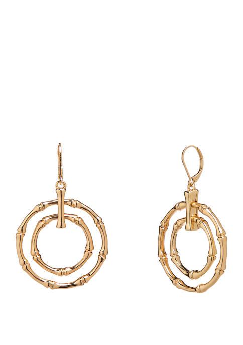 Crown & Ivy™ Gold Tone Bamboo Orbital Earrings