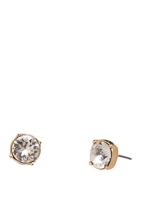 Gold Tone Crystal Swarovski Stud Earrings