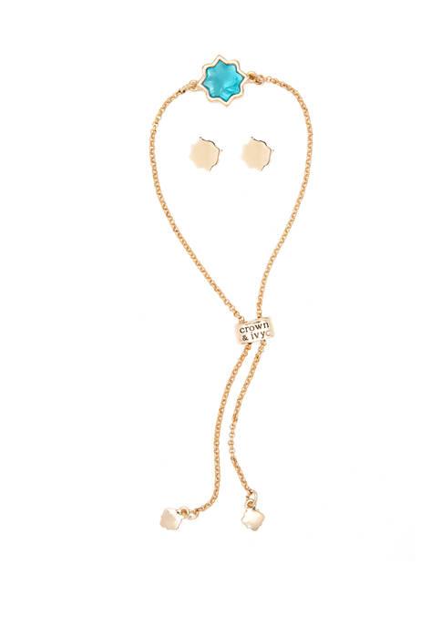 Crown & Ivy™ Boxed Gold Tone Turquoise Quatrefoil