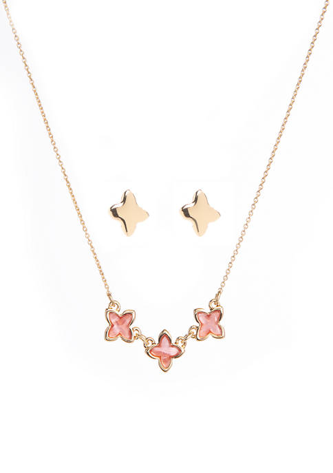 Crown & Ivy™ Boxed Gold Tone Coral Quatrefoil