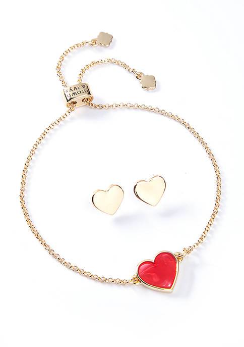 2 Piece Boxed Gold Tone Red Bracelet Earring Heart Slider Set
