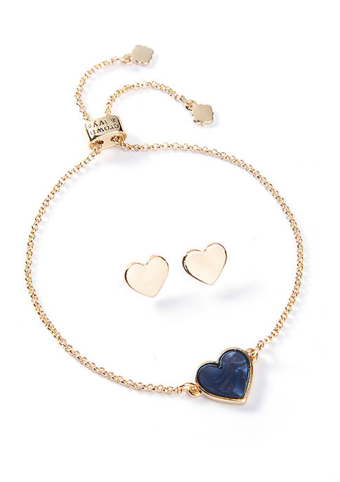 2 Piece Boxed Gold Tone Blue Bracelet Earring Heart Slider Set