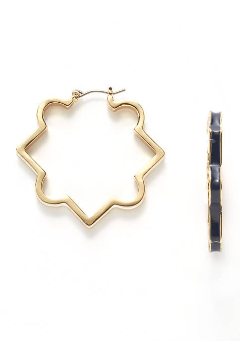 Gold Tone Enamel Hoop Earrings