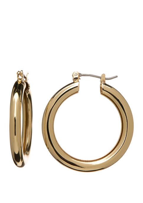Gold Tone Small Tube Hoop Earrings