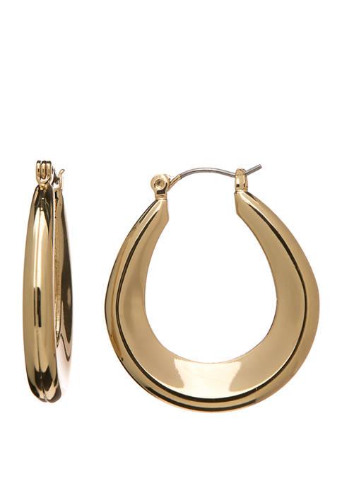 Crown & Ivy™ Gold Tone Taper Tube Hoop