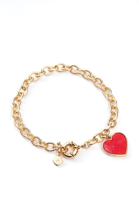Boxed Gold Tone Red Bracelet with Heart Charm